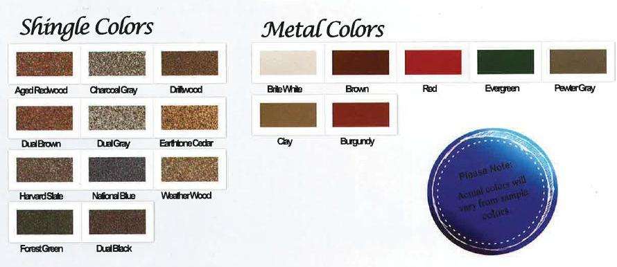Shed Shingle Colors MD PA